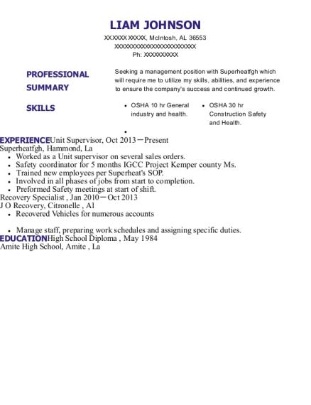 tim hortons supervisor resume sample