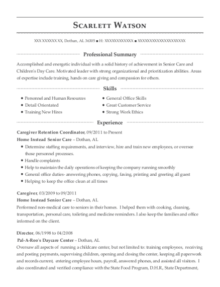 home instead senior care caregiver retention coordinator resume