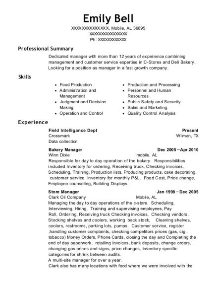 Best Bakery Manager Resumes | ResumeHelp