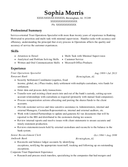 View Resume. Trust Operations Specialist