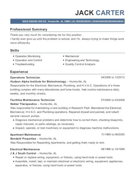 Operations Technician , Facilities Maintenance Technician. Customize Resume  · View Resume