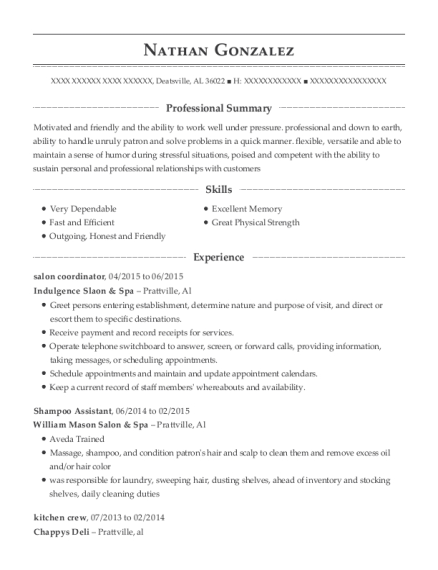 Shampoo Assistant , Cashier  Food Server. Customize Resume · View Resume