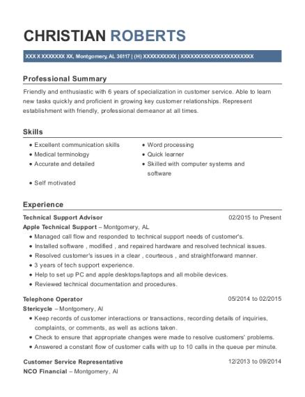 Apple Technical Support Technical Support Advisor Resume Sample ...