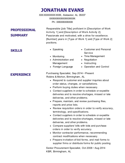View Resume. Purchasing Specialist