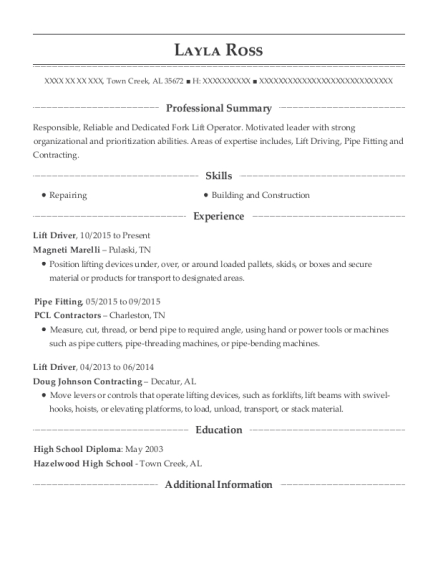 layla ross - Lift Driver Resume