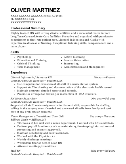 Oliver Martinez  Nursing Supervisor Resume