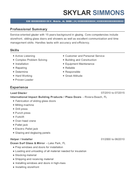 International Impact Building Products Lead Glazier Resume Sample