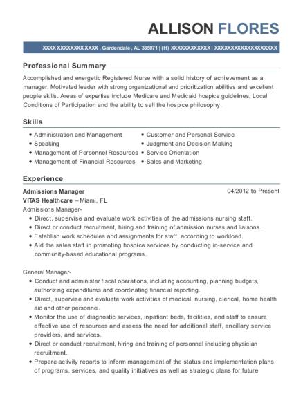 Best Admissions Manager Resumes | ResumeHelp