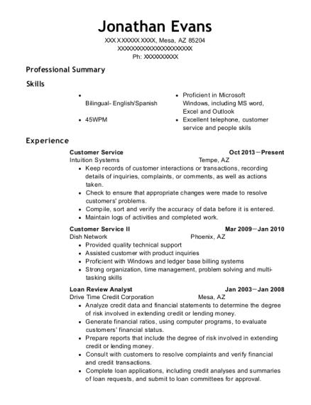 adt security service customer service resume sample