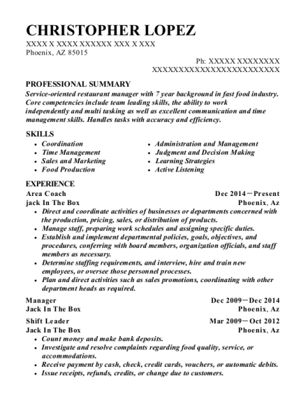 Christopher Lopez  Shift Leader Resume