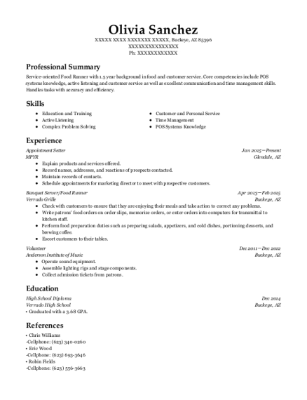 olivia sanchez - Appointment Setter Resume Sample