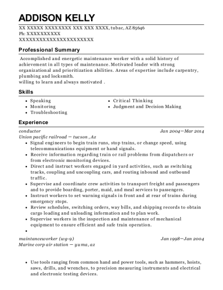 Railroad resume help