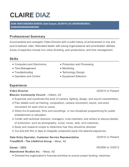 view resume video director