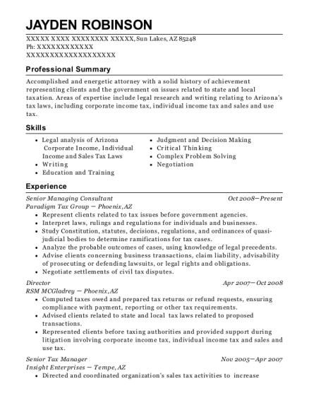 individual advisory services senior manager resume sample