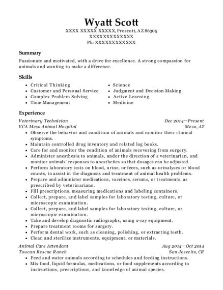 view resume - Animal Care Resume