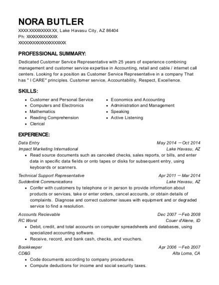 Wow Internet Technical Support Representative Resume Sample ...