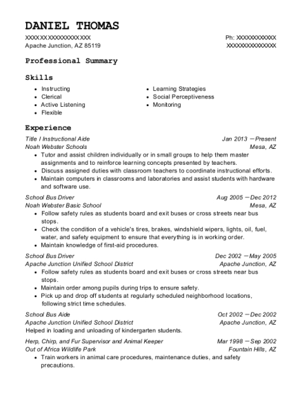 View Resume. Title I Instructional Aide