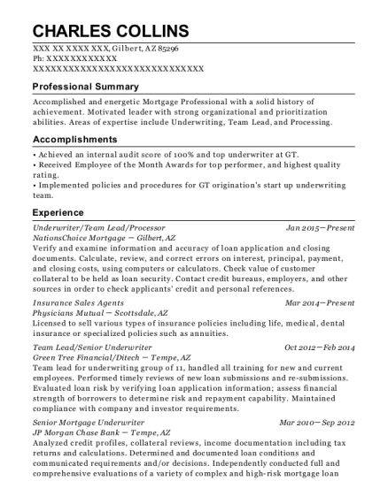 best senior mortgage underwriter resumes resumehelp