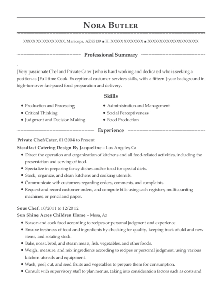 View Resume Private Chef