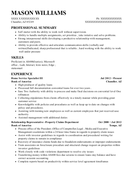 bank of america home service specialist iii resume sample