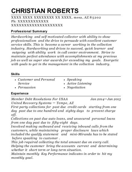 united recovery systems member debt resolutions for usaa resume