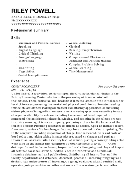 View Resume. COUNT ROOM CLERK