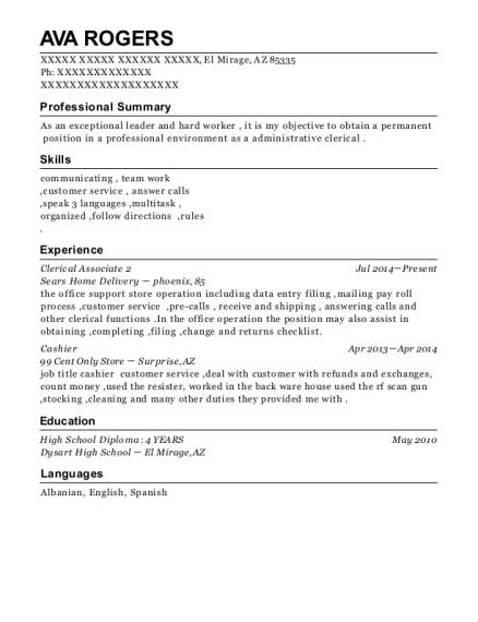 Best Clerical Associate 2 Resumes | ResumeHelp