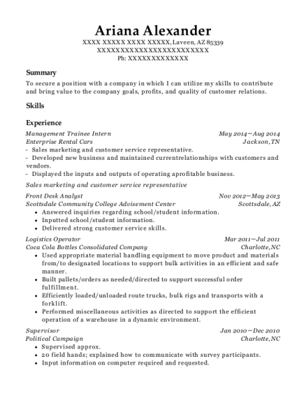 enterprise rent a car management trainee intern resume sample