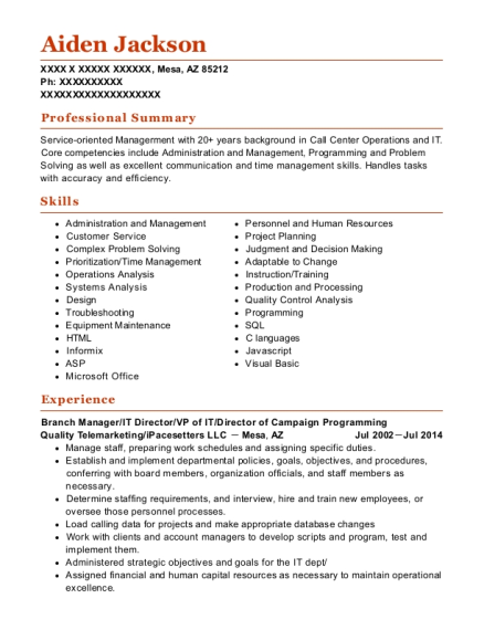 Best Telemarketing Supervisor Resumes | ResumeHelp