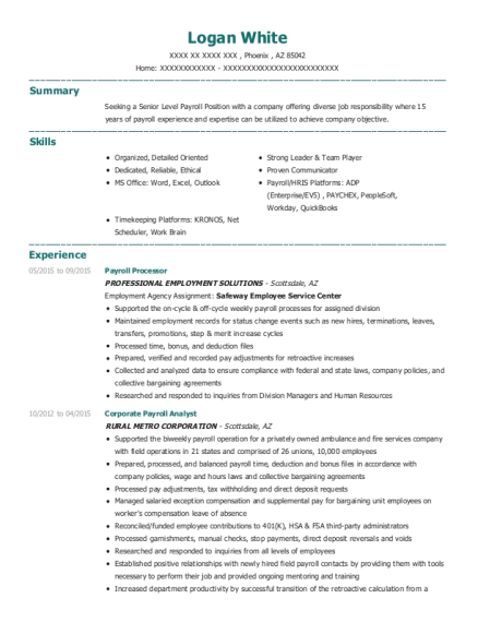 CORPORATE PAYROLL ANALYST , PAYROLL AND BENEFITS SPECIALIST. Customize  Resume · View Resume