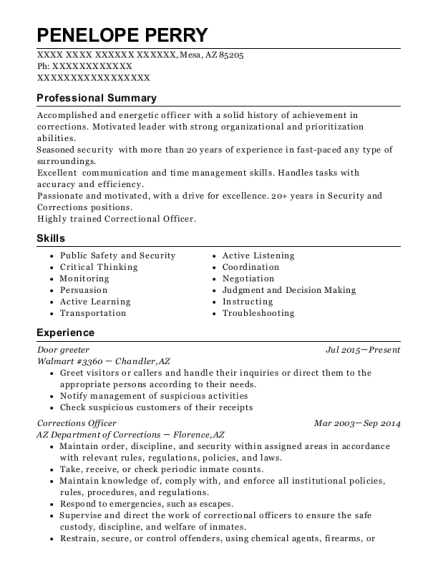 penelope perry - Sample Greeter Resume