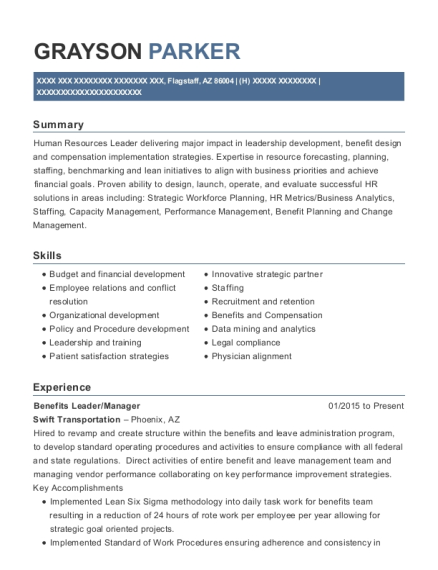 Swift Transportation Benefits Leader/manager Resume Sample