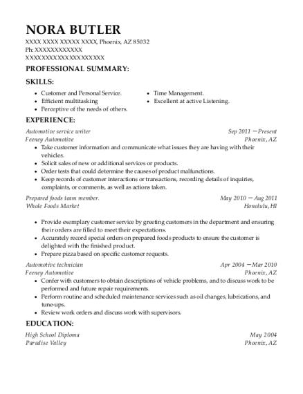 best automotive service writer resumes resumehelp
