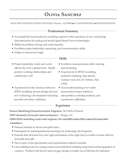 Nxp Formerly Freescale Semiconductor Senior Modeling Resume Sample