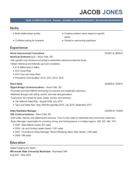 American Exteriors Llc Home Improvement Consultant Resume Sample ...