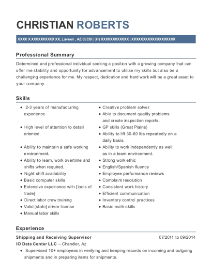 Shipping And Receiving Supervisor Diesel Mechanic Customize Resume View