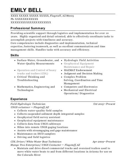 View Resume. Field Hydrologic Technician