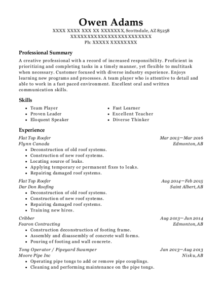 flynn canada flat top roofer resume sample