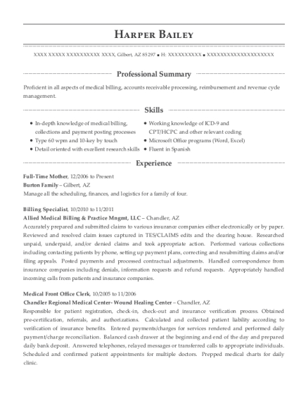 ... Billing Specialist. Customize Resume · View Resume