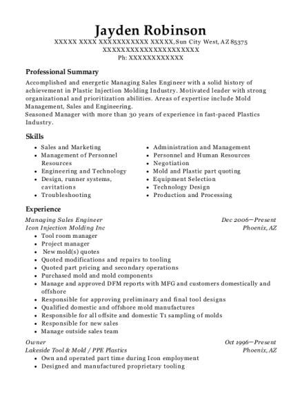 Icon Injection Molding Inc Managing Sales Engineer Resume Sample ...