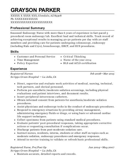 grayson parker - Plastic Surgery Nurse Sample Resume