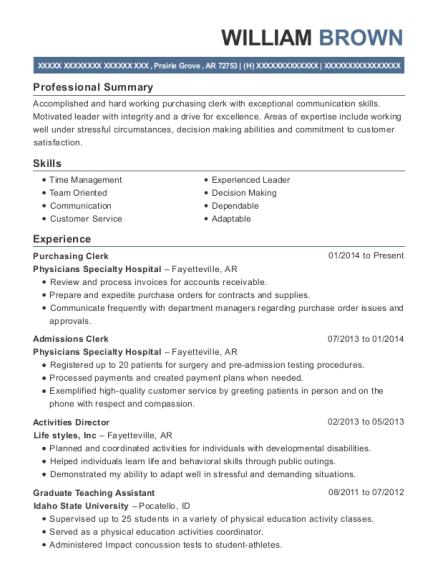 william brown - Purchasing Clerk Sample Resume