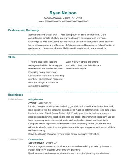 usic utility locator resume sample