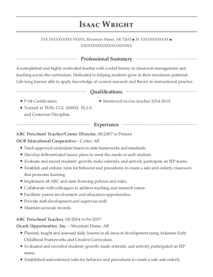 View Resume. ABC Preschool ...