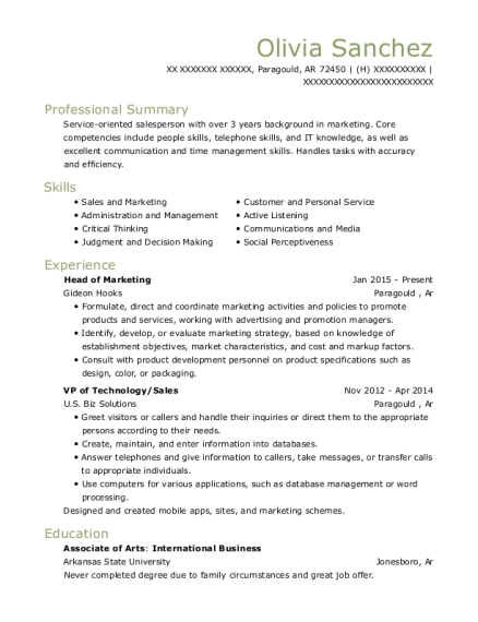 Best Head Of Marketing Resumes ResumeHelp - Best of promotional model resume scheme