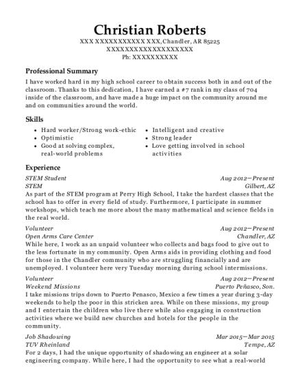 stem stem student resume sample chandler arkansas resumehelp