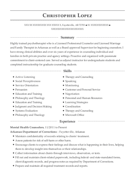 View Resume. Mental Health Counselors