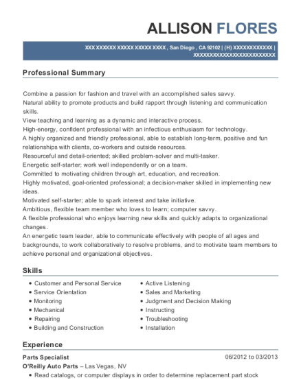 Oreilly Auto Parts Parts Specialist Resume Sample - San Diego ...