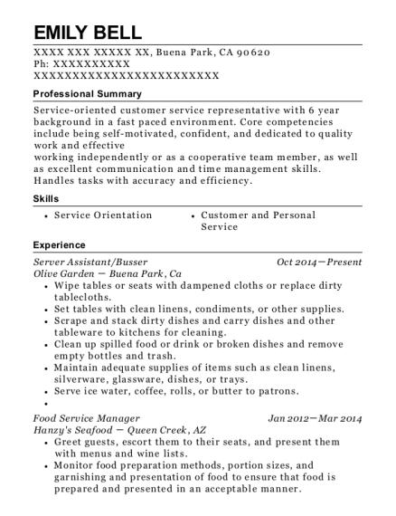 view resume server assistantbusser buena park california - Olive Garden Buena Park