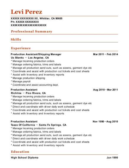 View Resume. Production Assistant